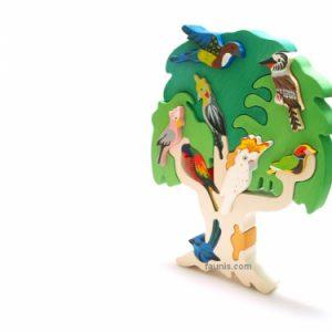 Puzzle din lemn pom cu pasari din Australia -0