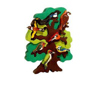 Puzzle din lemn pom cu pasari din Europa-0