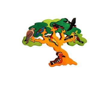 Puzzle din lemn pom cu pasari migratoare-0