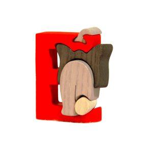 Litera E - puzzle din lemn-0
