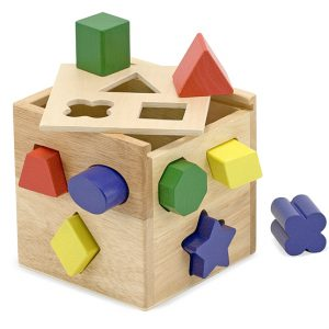 Cub din lemn cu forme de sortat Melissa and Doug-0