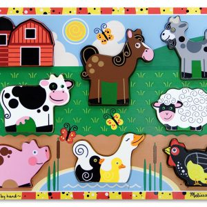 Puzzle lemn in relief Animale de ferma Melissa and Doug-0