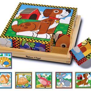 Puzzle lemn din cuburi Animalele de casa Melissa and Doug-0