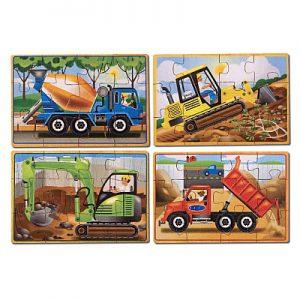 Set 4 puzzle lemn in cutie Vehicule pentru constructii Melissa and Doug-0