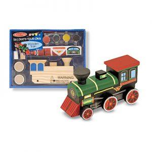 Trenulet din lemn de asamblat si pictat Melissa and Doug-0