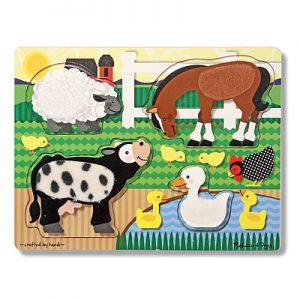Puzzle de lemn Atinge si descopera Animale de la ferma Melissa and Doug-0