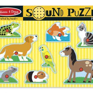 Puzzle de lemn cu sunete Animale de companie Melissa and Doug-0