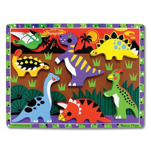 Puzzle lemn in relief Dinozauri Melissa and Doug-0
