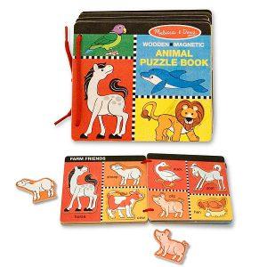 Carte din lemn cu animale magnetice Melissa and Doug-0