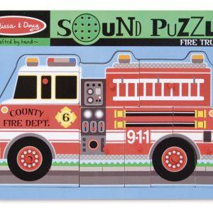 Puzzle de lemn cu sunete Masina de Pompieri Melissa and Doug-0