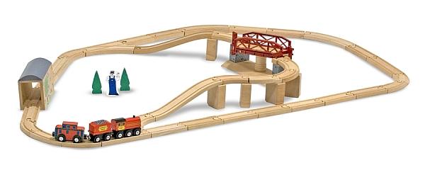 Melissa&Doug - Set Trenulet din lemn cu pod pivotant-0