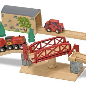 Melissa&Doug - Set Trenulet din lemn cu pod pivotant-980