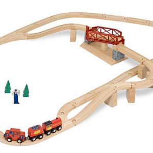 Melissa&Doug - Set Trenulet din lemn cu pod pivotant-981