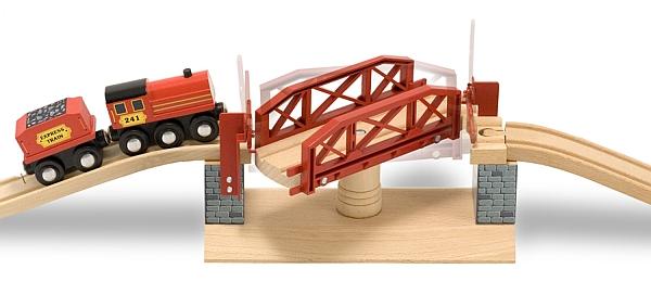 Melissa&Doug - Set Trenulet din lemn cu pod pivotant-982