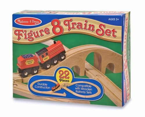 Tren lemn si Circuit 8 Melissa and Doug-0