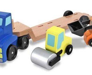 Camion transportor cu platforma cu utilaje de constructii Melissa and Doug-0