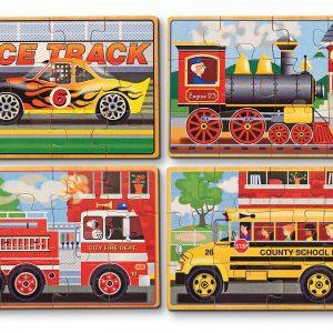 Set 4 puzzle lemn in cutie Vehicule Melissa and Doug-0