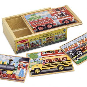 Set 4 puzzle lemn in cutie Vehicule Melissa and Doug-1294