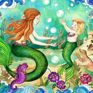 Puzzle de podea Sirene la joaca Melissa and Doug 48 piese-0