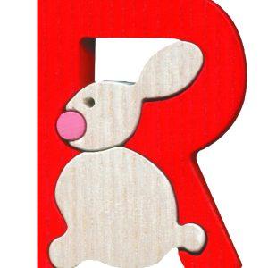 Litera R - puzzle din lemn-0
