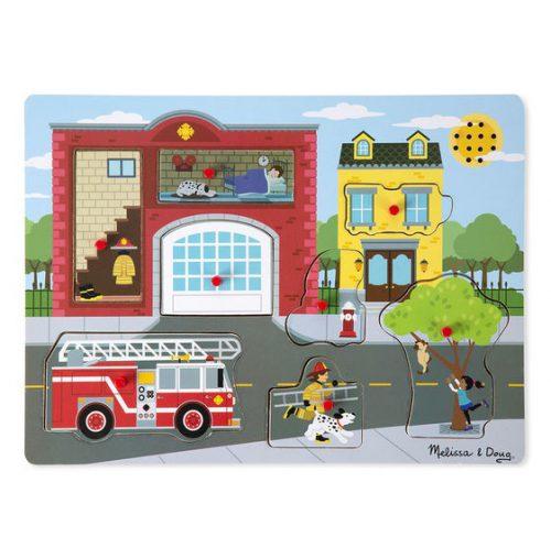 Puzzle cu sunete Brigada de pompieri Melissa and Doug-0