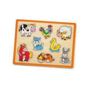 Puzzle cu maner - animale de la ferma-0