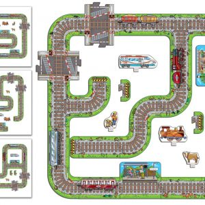 Puzzle gigant de podea - Calea ferata - 26 piese-2960