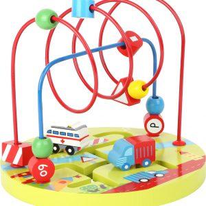 Labirint cu margele si vehicule - jucarie educativa -0