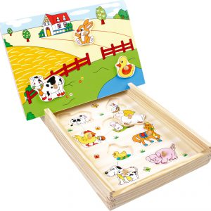 Puzzle magnetic din lemn - La ferma -0