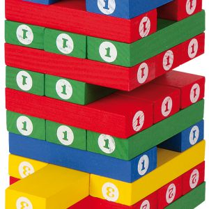 Joc Turnul instabil din lemn colorat-0